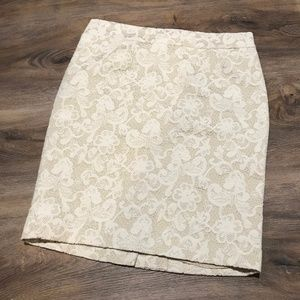 Cynthia Rowley Cream Lace Pencil Skirt